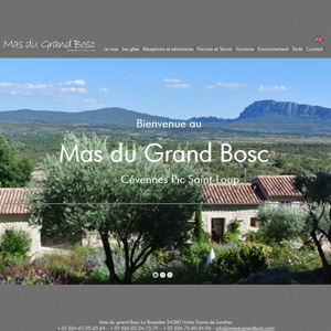 visuel du site internet du Mas du Grand Bosc
